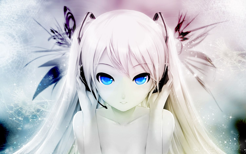 Cait Hatsune Miku Headphones Photoshop Polychromatic Snow Twintails Vocaloid White Hair Yuki Miku Awesome Anime Anime Music Cute Anime Wallpaper