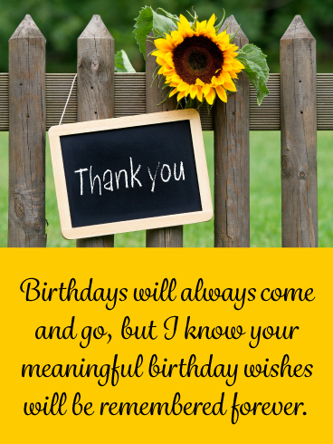 Yellow Sunflower Thank You Card For Birthday Wishes Birthday Greeting Cards By Davia Thank You For Birthday Wishes Birthday Wishes Birthday Wishes Messages