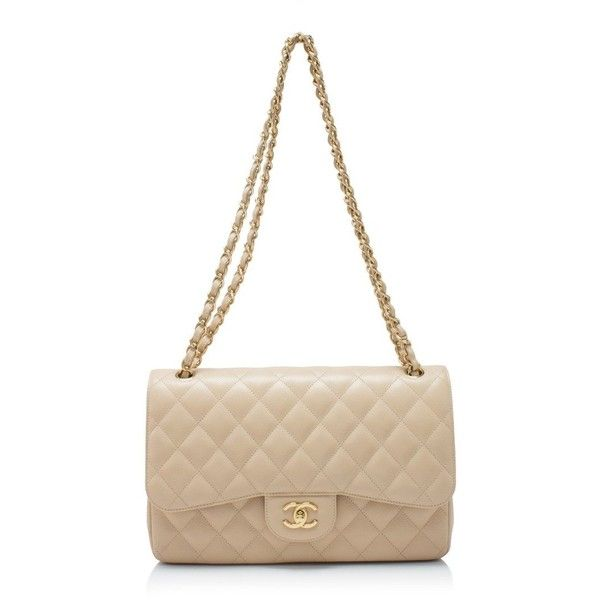 Pre-owned Chanel Classic Double Flap Bag ($5,380) ❤ liked on Polyvore featuring bags, handbags, beige, beige leather handbags, leather handbags, white leather purse, leather purses and beige purse