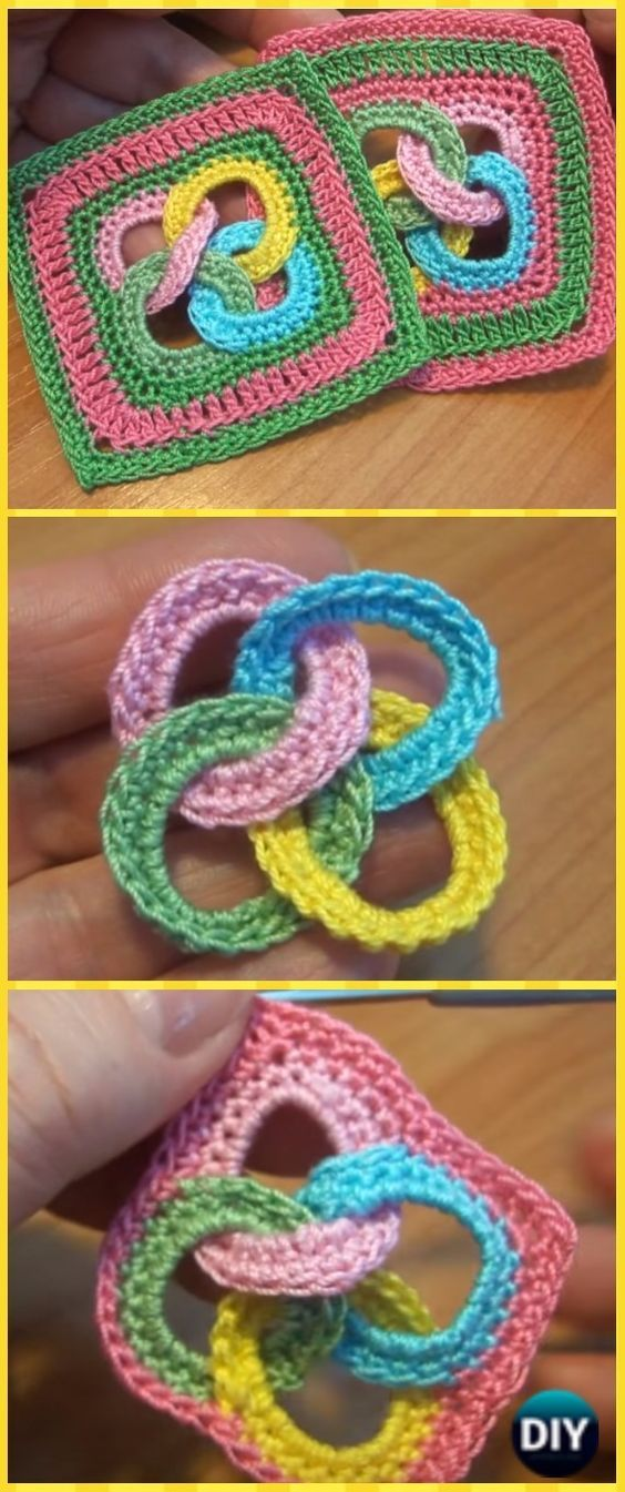 Crochet Interlocking Ring Granny Square Motif Free Pattern Video