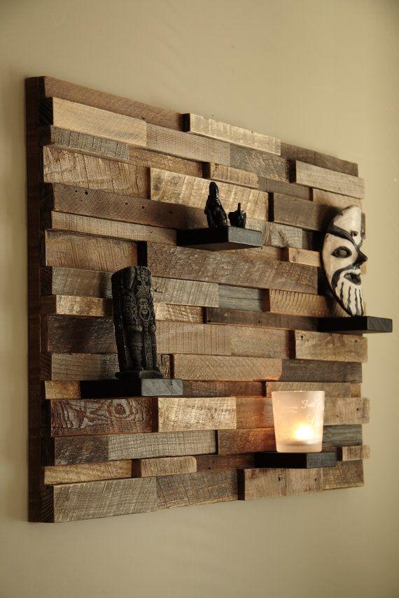 Reclaimed wood wall art 37 x24 x5 , Large art, floating shelves, large wall art , Barnwood