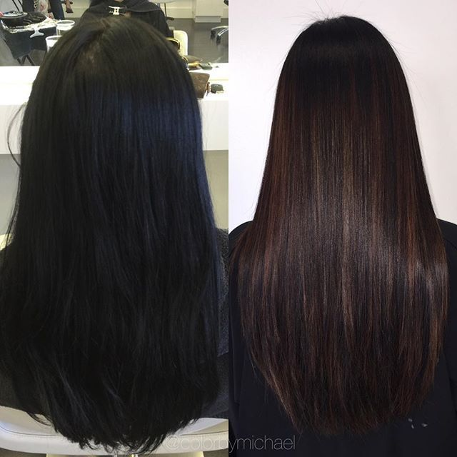 She 39 S Been Coloring Her Hair Black For Over 10 Years First Session Going For A Soft Brown Balayage Hair Styles Hair Balayage Hair