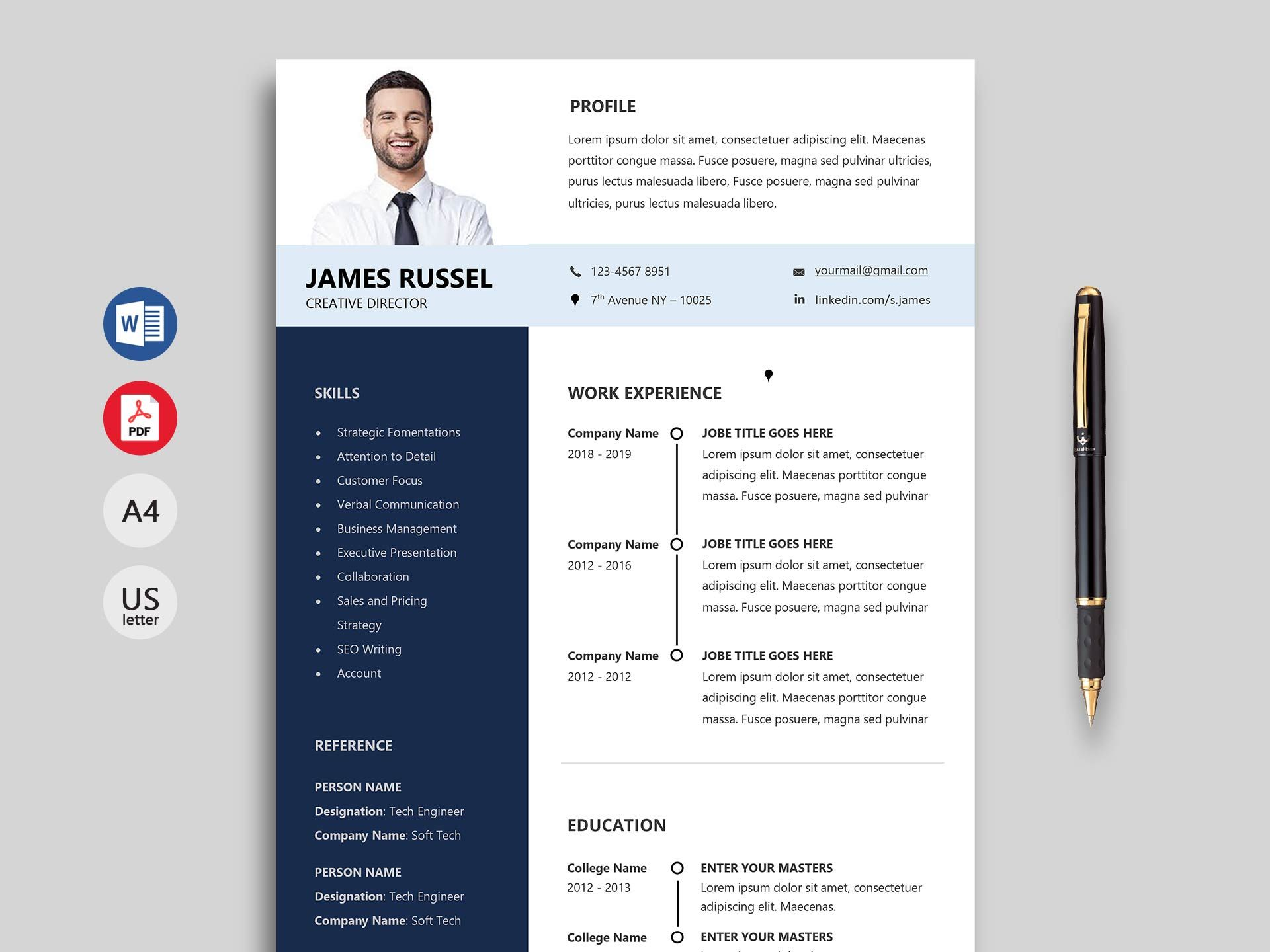 150 Creative Resume & CV Template Free Download 2020