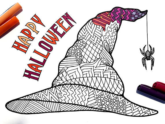 Witch Hat Pdf Zentangle Coloring Page Coloring Pages