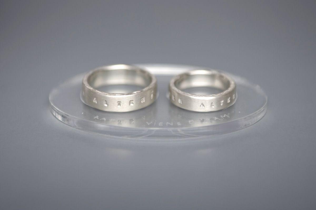 Silver Wedding Rings With Inscription In Latin Kolca