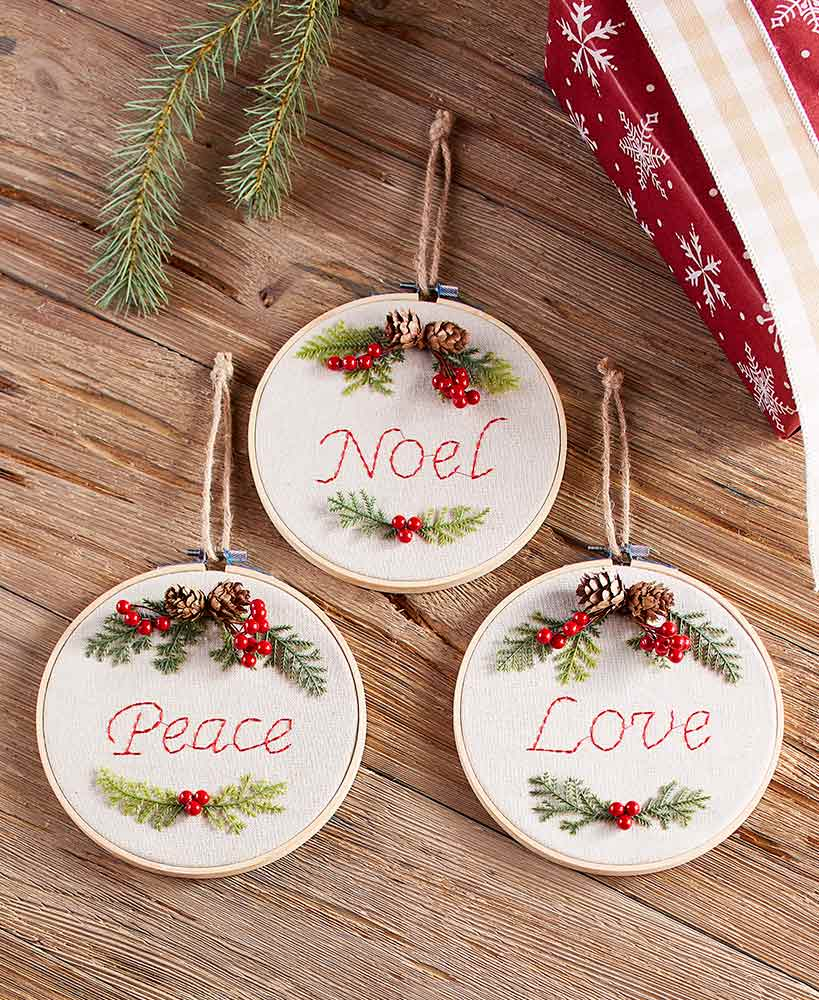 Embroidery Hoop Sentiment Ornaments Embroidered Christmas Ornaments Embroidery Hoop Crafts Christmas Embroidery