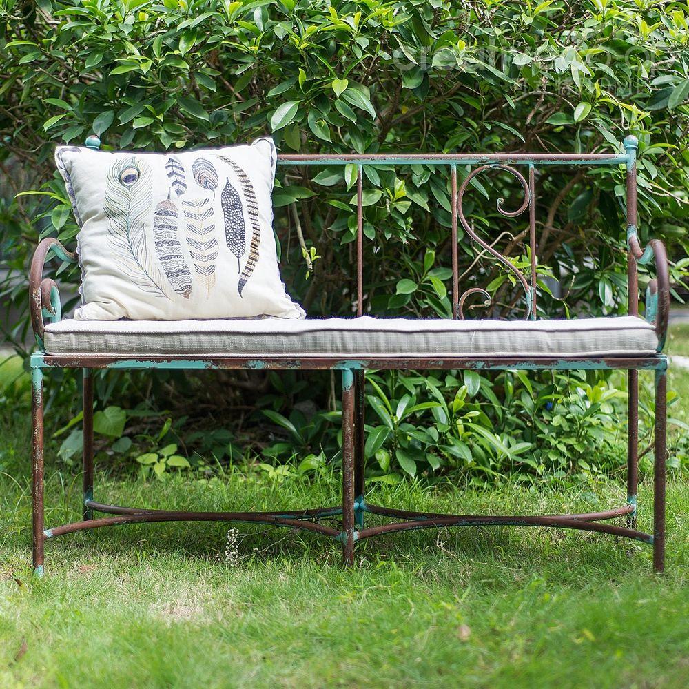 Co Op Garden Furniture Outdoor funiture metal bench w cushion distressed aqua kd outdoor funiture metal bench w cushion distressed aqua kd creative co workwithnaturefo