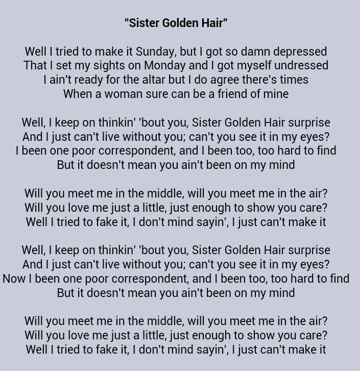sister golden hair lyrics