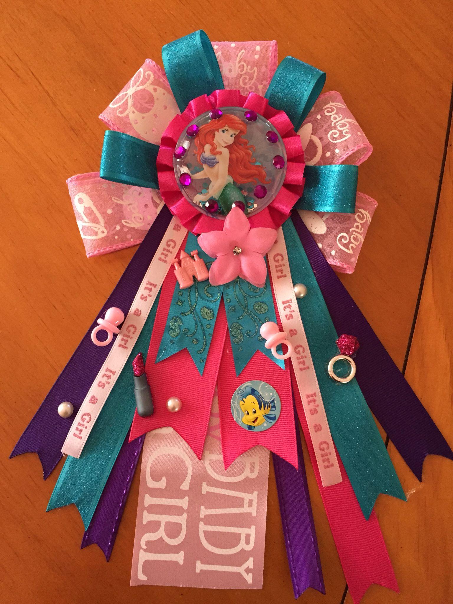 Ariel theme baby shower corsage Esabellas Bowtique