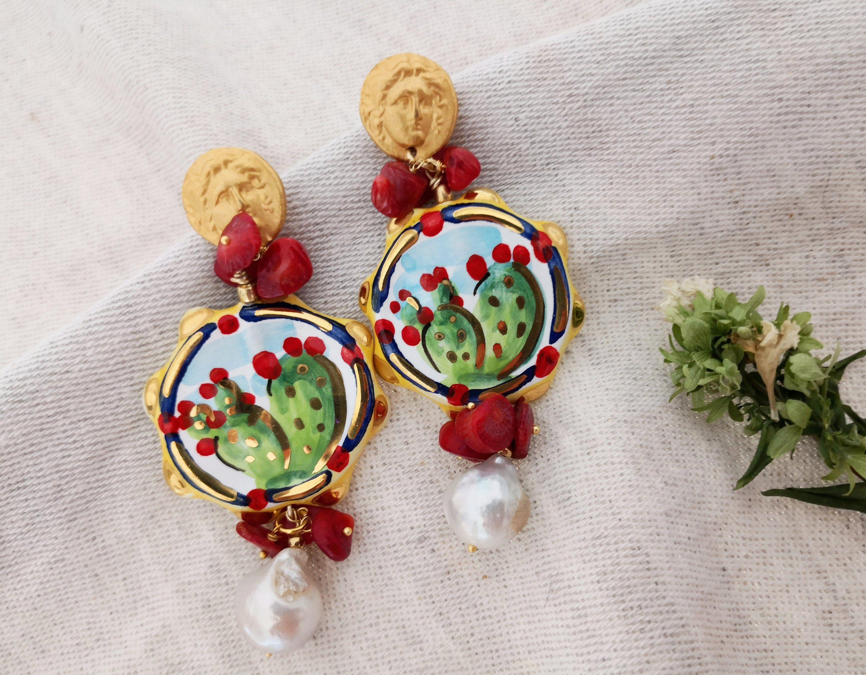 orecchini perle regalo orecchini particolari orecchini decorati orecchini siciliani Orecchini ceramica Caltagirone orecchini verdi