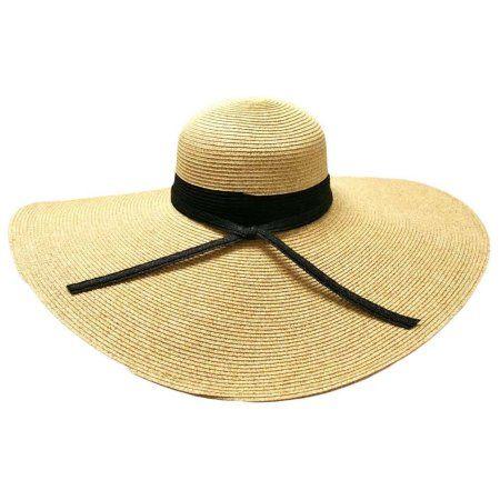 Buy Natural Wide Brim Floppy Hat With Black Ribbon Hat Band at Walmart.com 16a07fa58ec