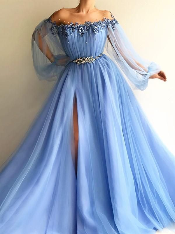Chicloth A-Line Long Sleeves Off-The-Shoulder Tulle With Beading Floor-Length Dresses