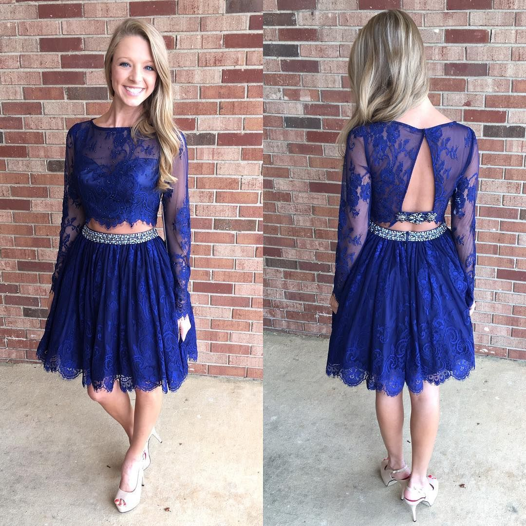 Two pieces homecoming dresses royal blue homecoming dresseslong