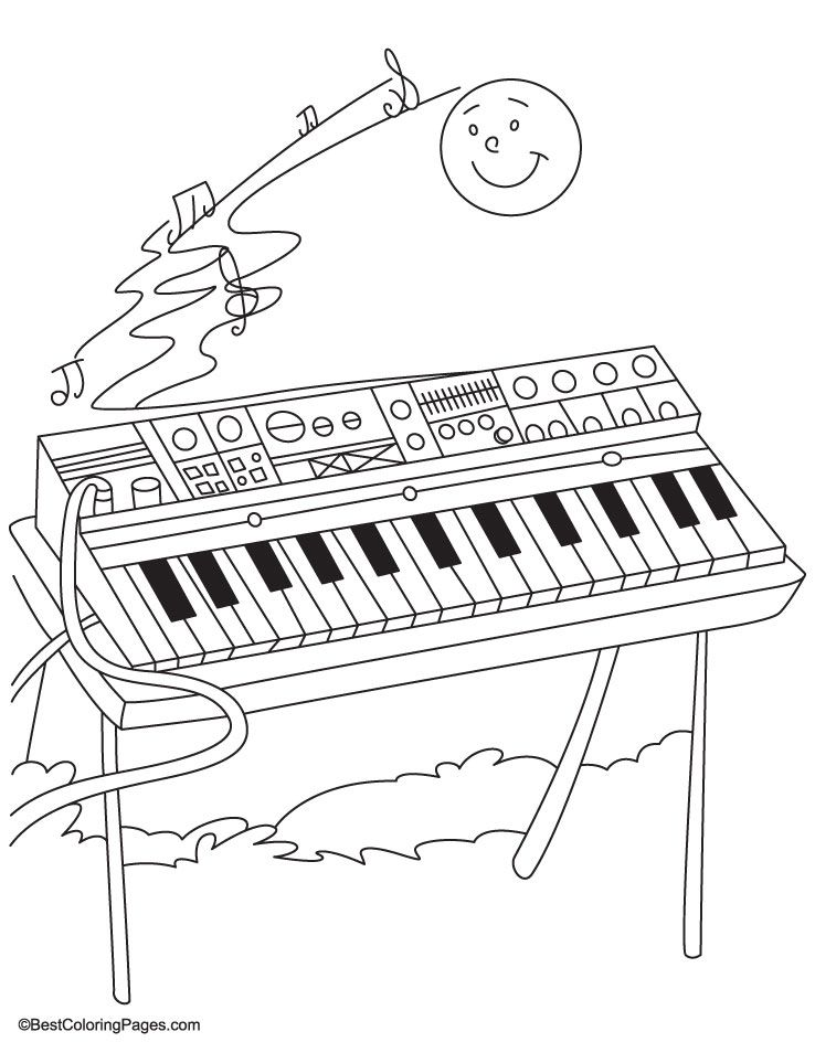 Synthesizer Coloring Pages Hudobne Nastroje Nastroje