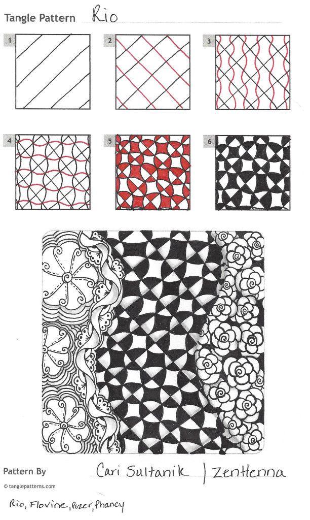 My First Original Tangle Rio Zentangle Patterns Zentangle Tutorial Tangle Patterns