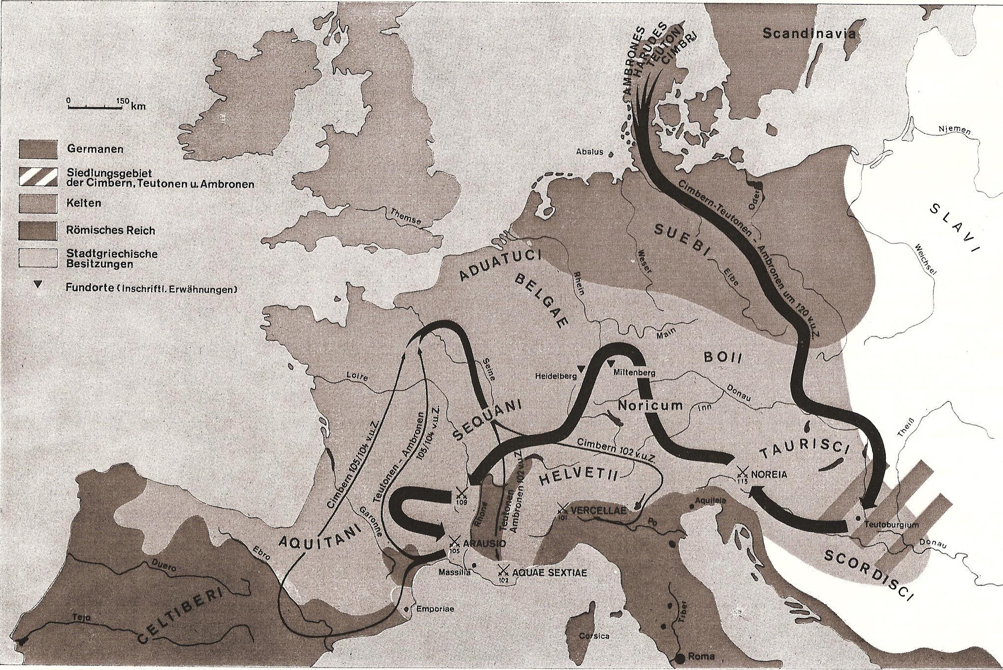 Germanische Stämme Karte.Züge Der Kimbern Und Teutonen 120 101 V Chr Von Dänemark Aus Durch