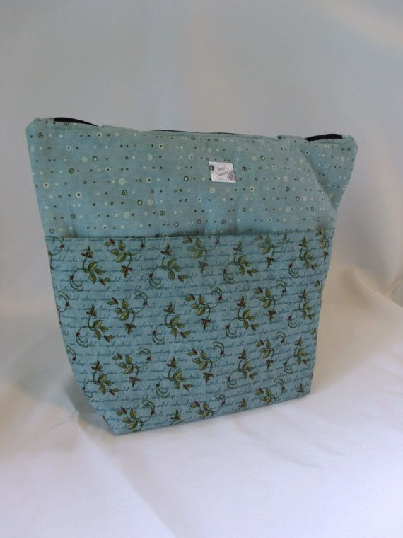 Extra Large Tote bag/ purse Sage green leaves dots by SassySeaming, $45.00