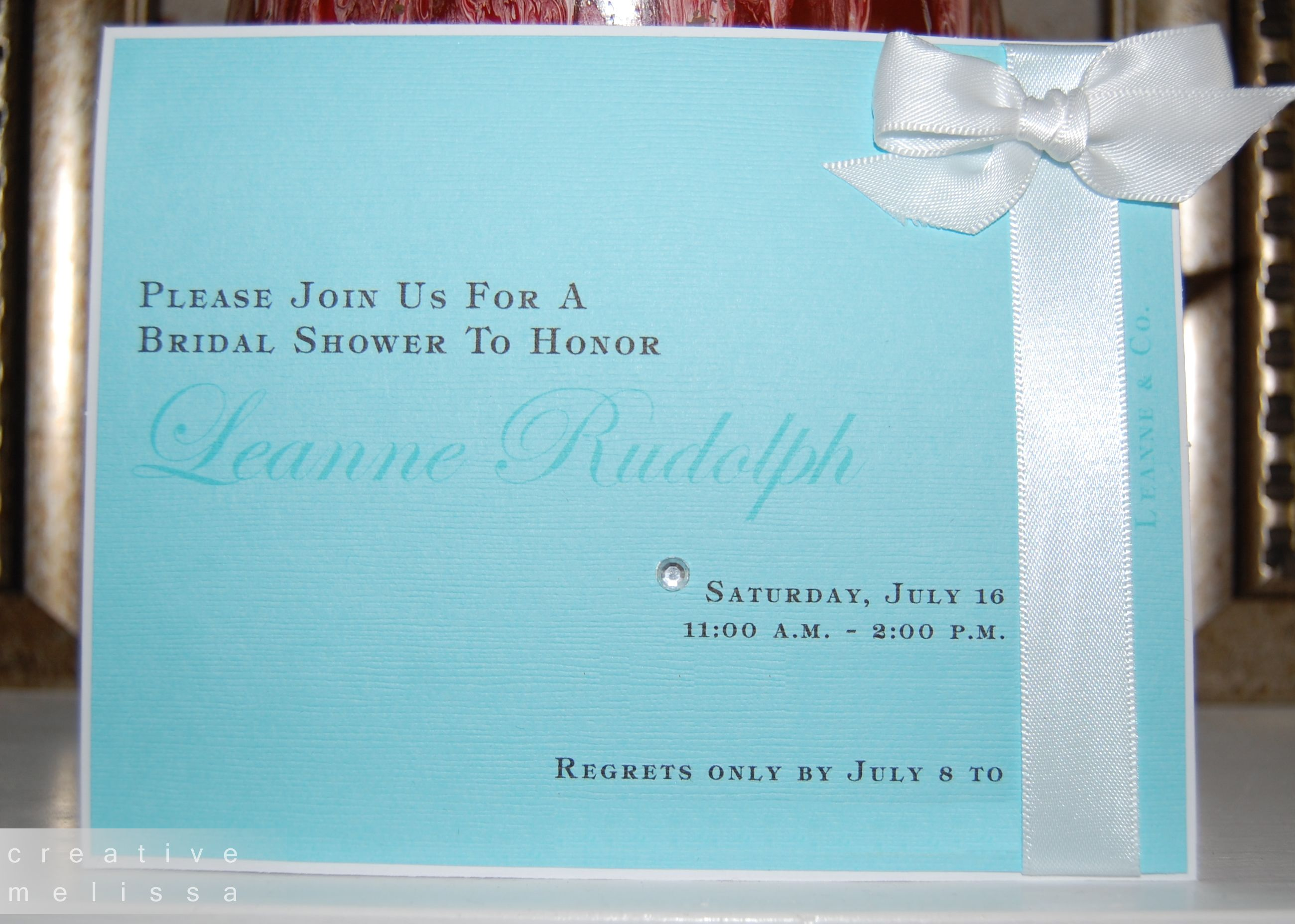 Tiffany bridal shower invitations white and
