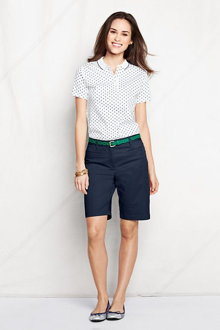 What to wear with Navy Bermuda shorts. Polka dot top. I would wear ...