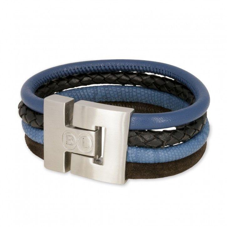 B&L Leather   Man   Armband   Combi Blauw Bruin *** Stoere mannenarmbanden in een mooie combi van diverse leersoorten met prachtige kleuren. De armband van B&L Leather heeft een breedte van 3 cm en sluit met een magneetsluiting. Deze armband is in de combinatie bruin-blauw, zwart, blauw.