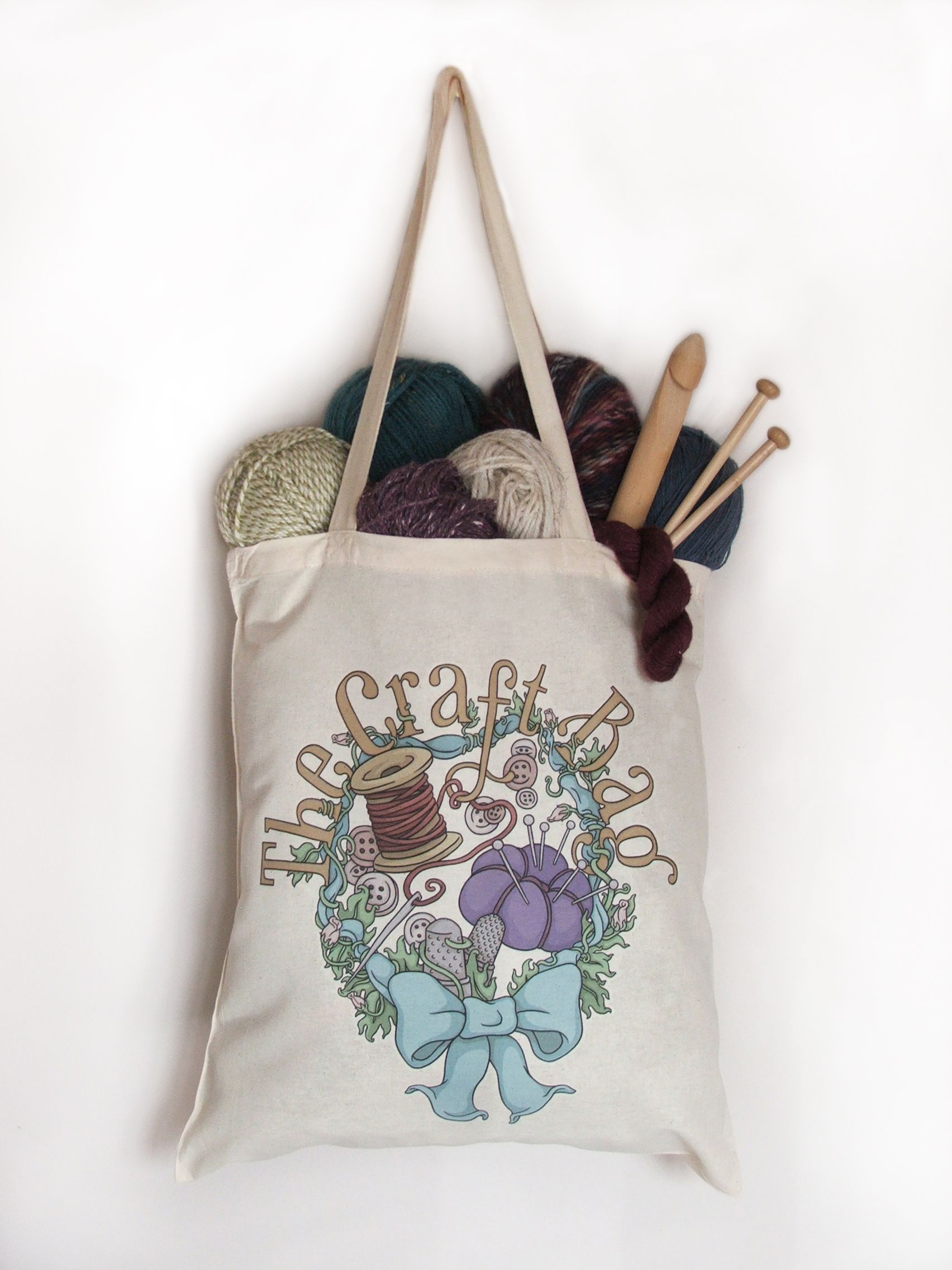 On Sale now! The Craft bag, 100% cotton tote with vinyl transfer. Perfect for keeping order to your stash or for carrying your bits and pieces to a craft club.  Available on Etsy, visit my store on the link below: https://www.etsy.com/uk/shop/TeaForMeDesigns  #knitting #knit #craft #art #project #crochet #quilt #quilting #sewing #illustration #digitalillustration