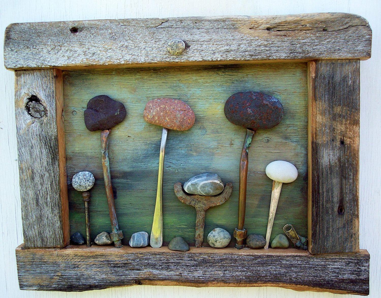 Rock Garden art Assemblage, reclaimed Barn wood frame with Campobello Island Rocks