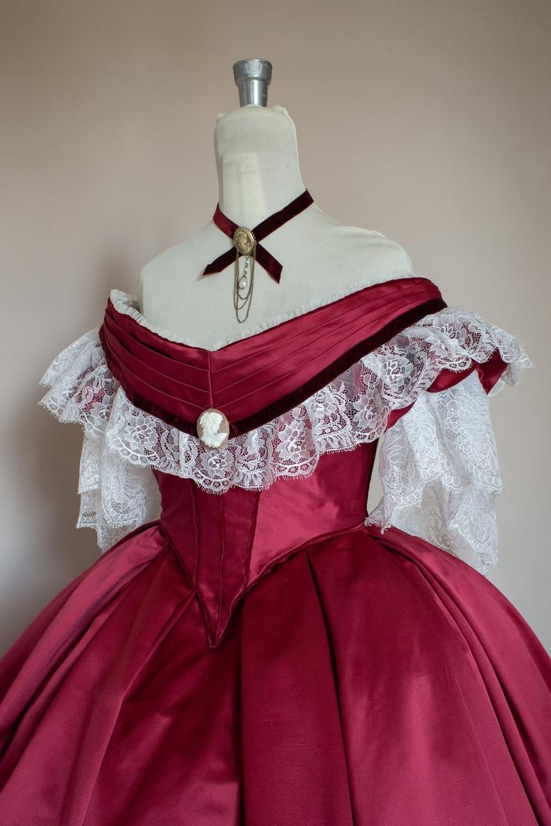 Victorian Prom Dress Victorian Ball Gown Burgundy Satin White Lace And Velvet Ribbon With Bertha Model Giorgia 1860 Old Fashion Dresses Victorian Ball Gowns Ball Gowns [ 1191 x 794 Pixel ]
