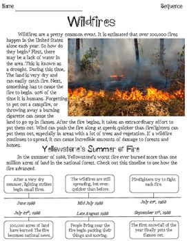 Wildfires Sequencing Nonfiction Passage | TpT FREE LESSONS | Text