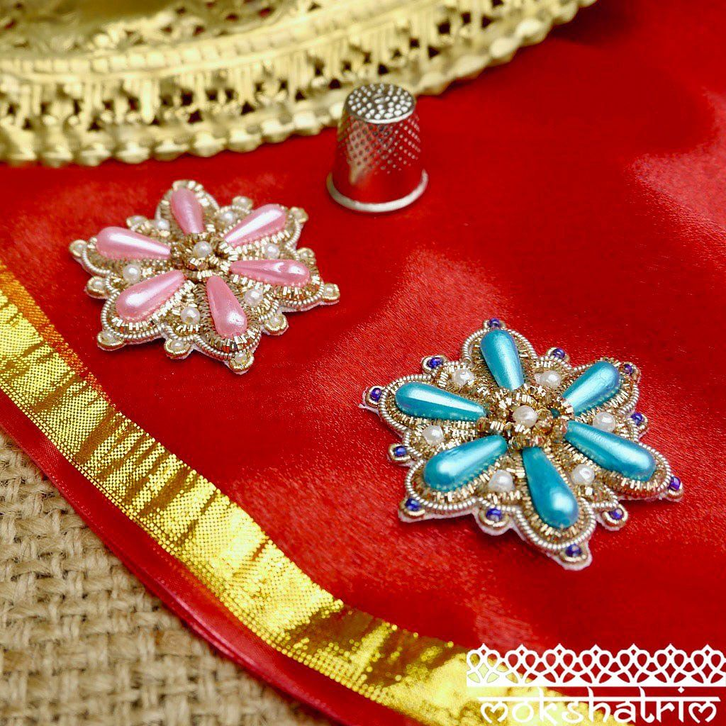 Indian Asian Silver Goldwork Beaded Applique.Sold as single appliques.Diameter: 43mm