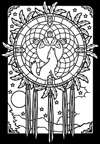 Dreamcatchers Stained Glass coloring book 2 | Wolf dreamcatcher ...