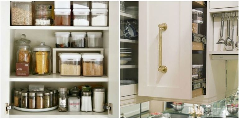 10 Ways To Use Wasted E On The Side Of Your Cabinets Organizing Kitchen Cabinetskitchen Cabinet Storagekitchen