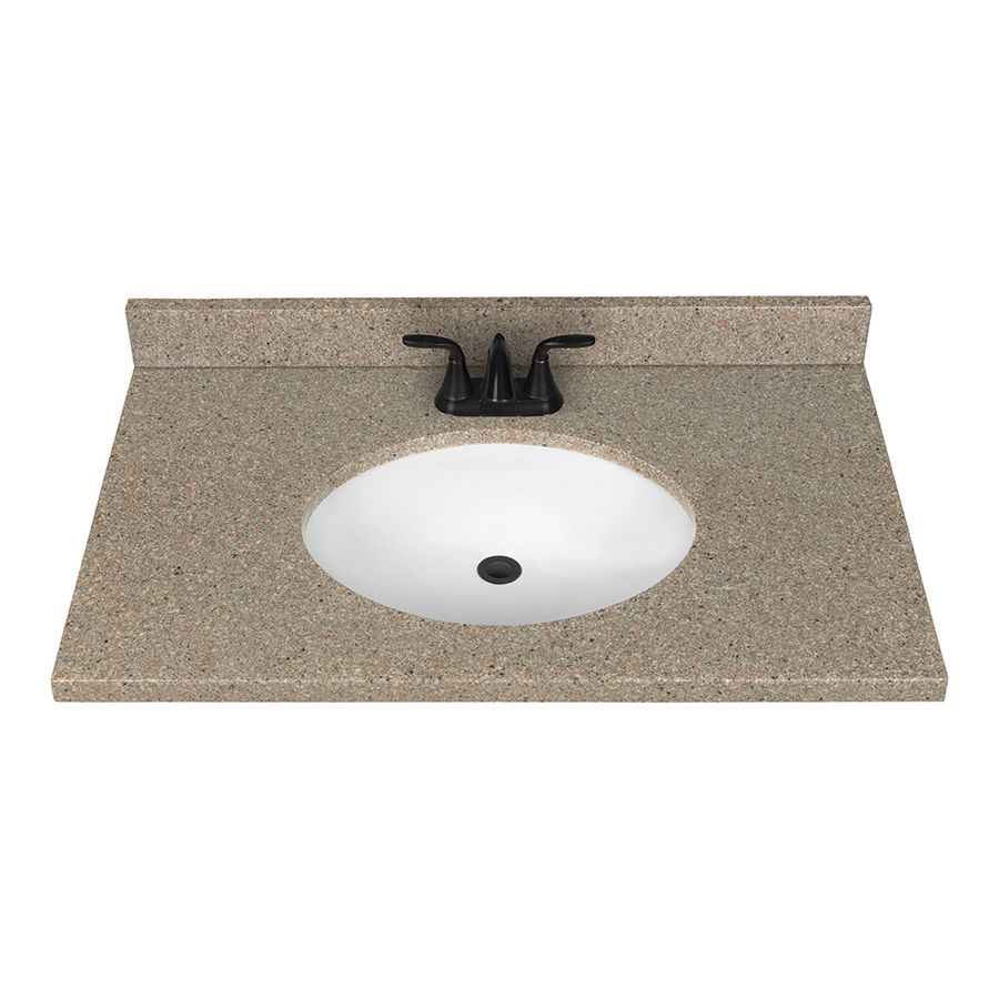nutmeg solid surface integral single sink bathroom vanity top