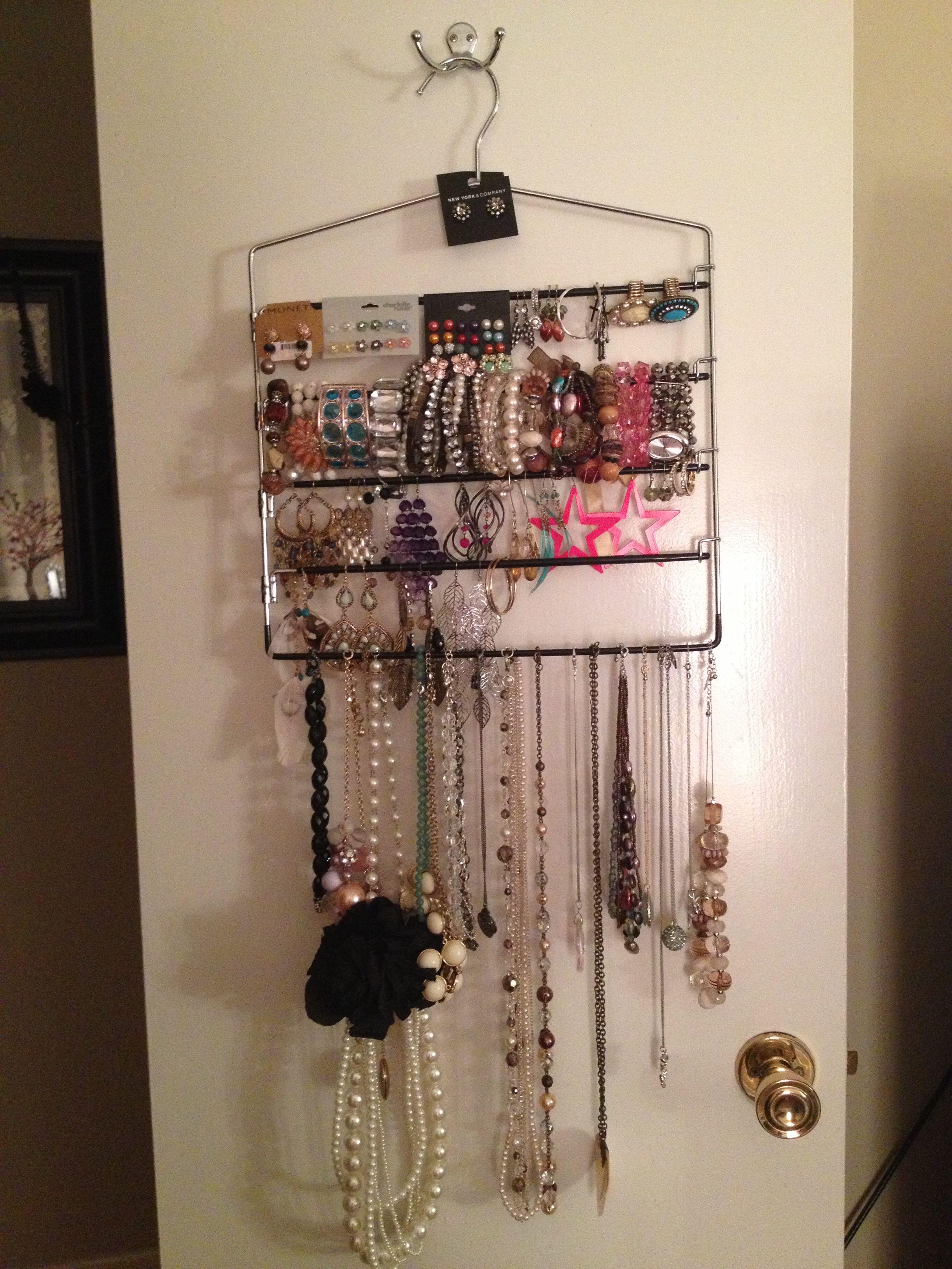 Dollar Store Slack Rack Now A Jewelry Organizer Jewelry Organization Organization