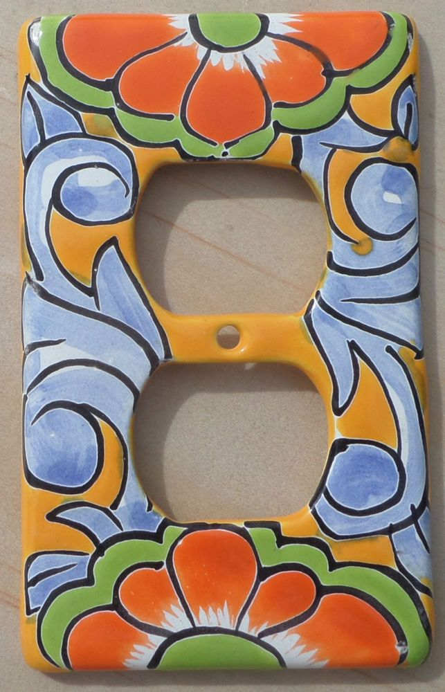 Talavera Mexican Pottery Double Outlet Light Switch Cover Wall Plate Pale Blue In Collectibles Cultures Ethnicities Latin American Ebay