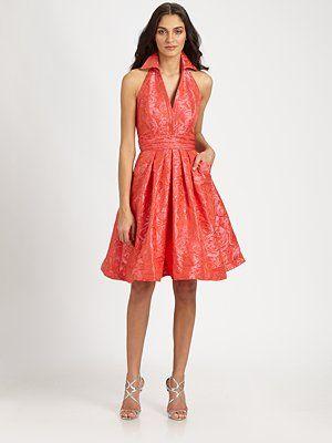 Theia  Brocade Dress