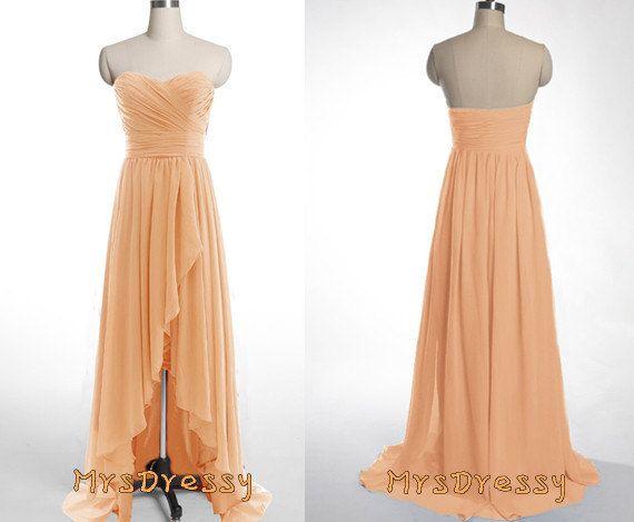 Peach Orange High Low Sweetheart Neck Pleated Bridesmaid Dress ...