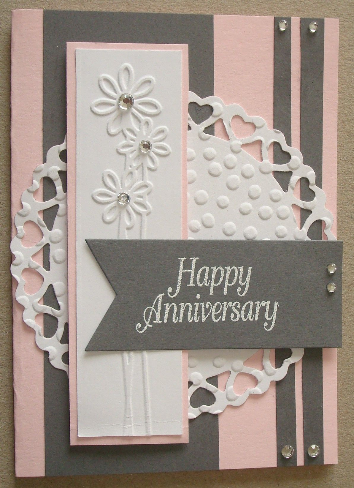 A035 hand made anniversary card using love borders embossing a035 hand made anniversary card using love borders embossing folder and circle heart die negle Images