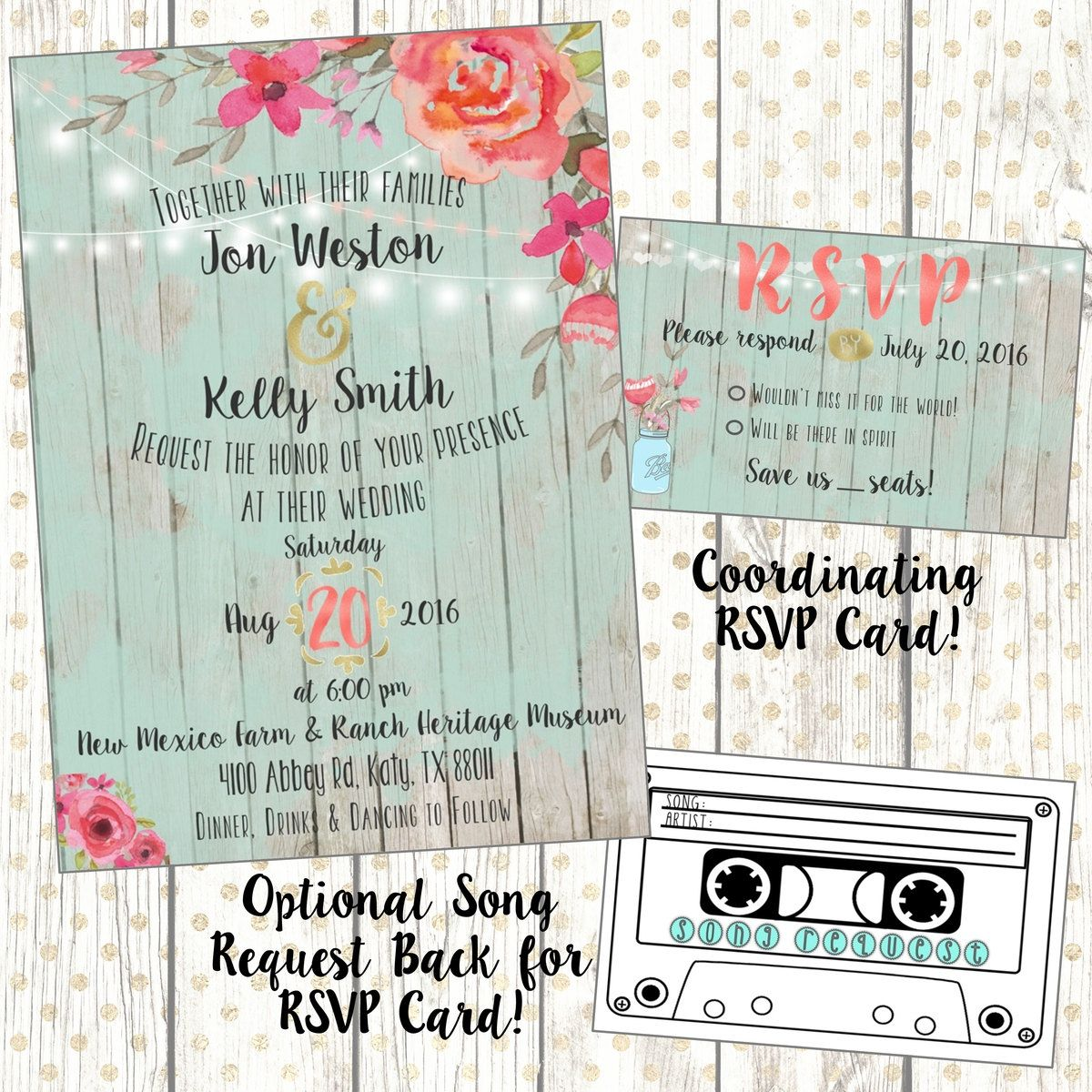 rustic chic wedding invitation w coordinating rsvp song request