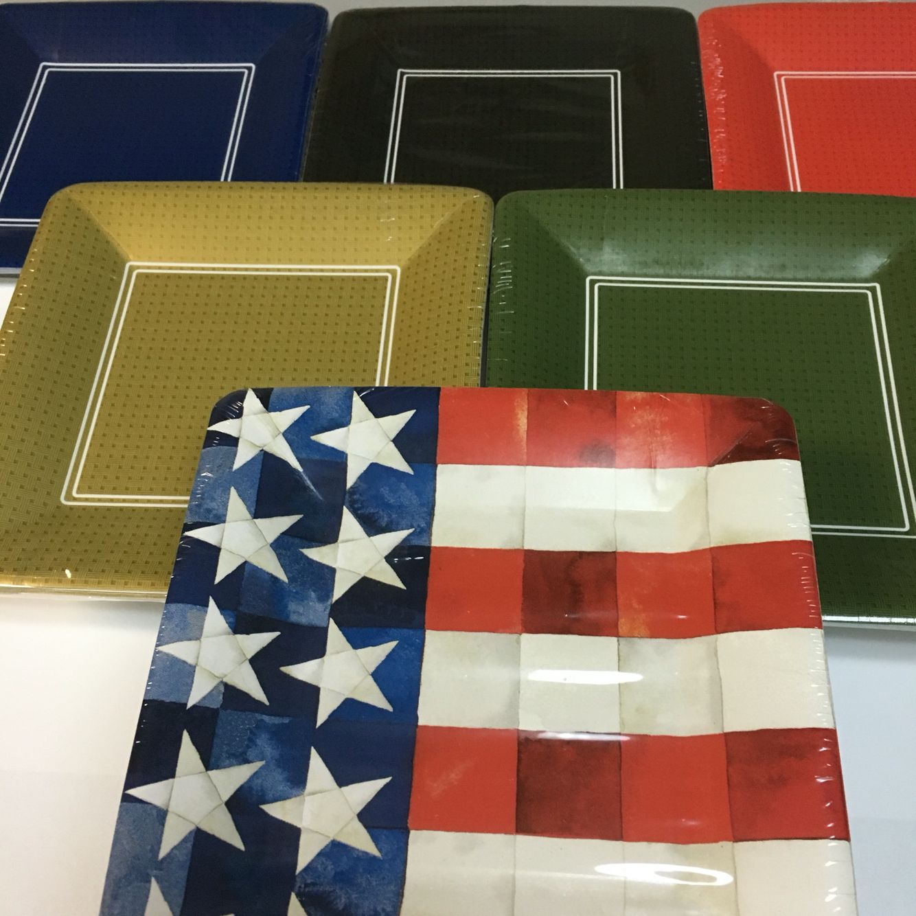 """Buffet weight plastic coated dessert/salad 7"""" sq. plates.  Perfect for Olympics theme parties!"""