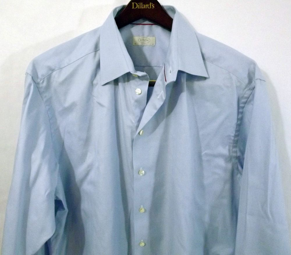 61dfaf6ba05471 LN Men s ETON Contemporary 18 46 White LS Cotton Dress Shirt w French Cuffs