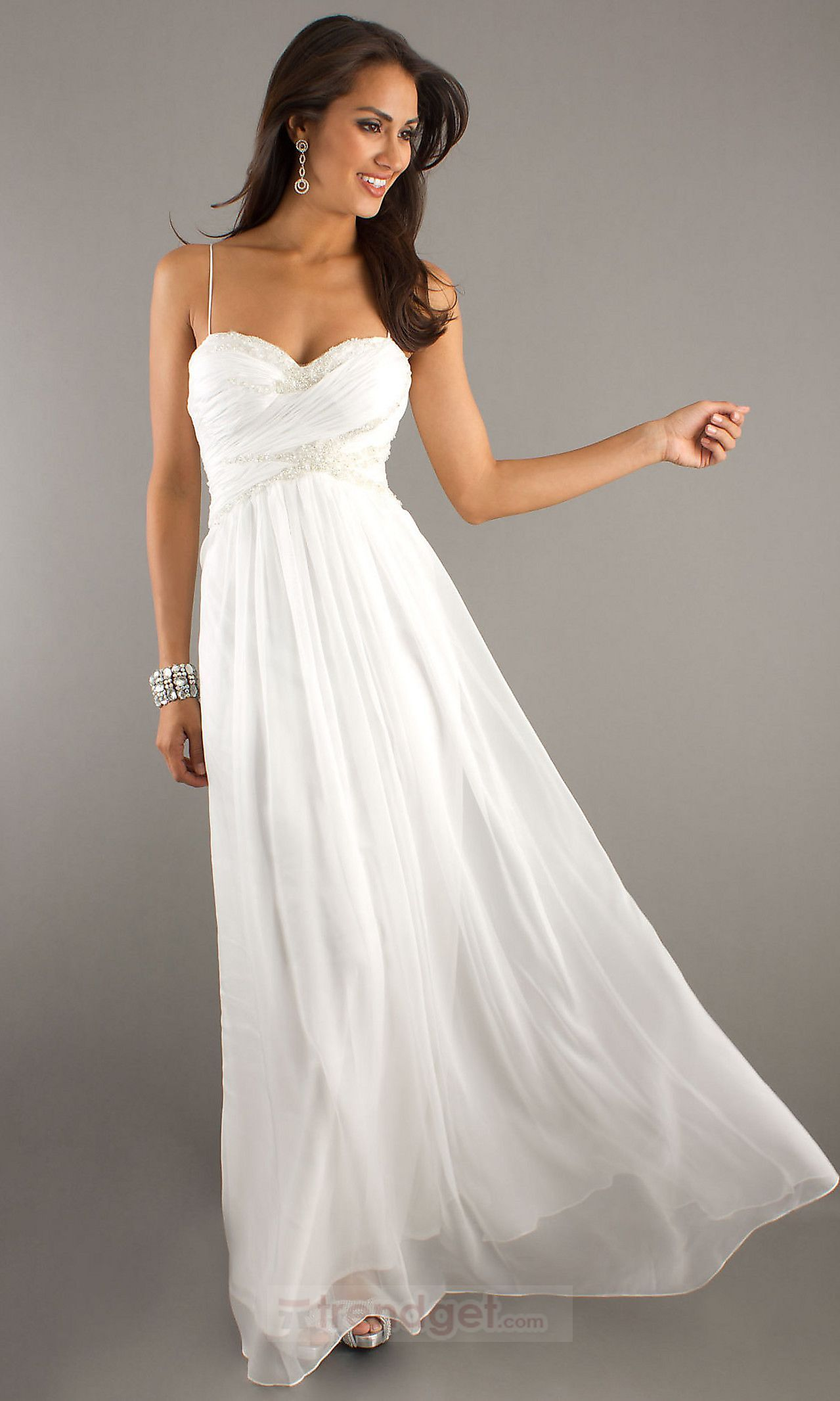 Modest A-line Sweetheart Floor-length Chiffon White Prom Dresses ID ...