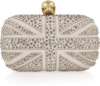 Alexander McQueen Britannia Skull crystal-studded suede box clutch