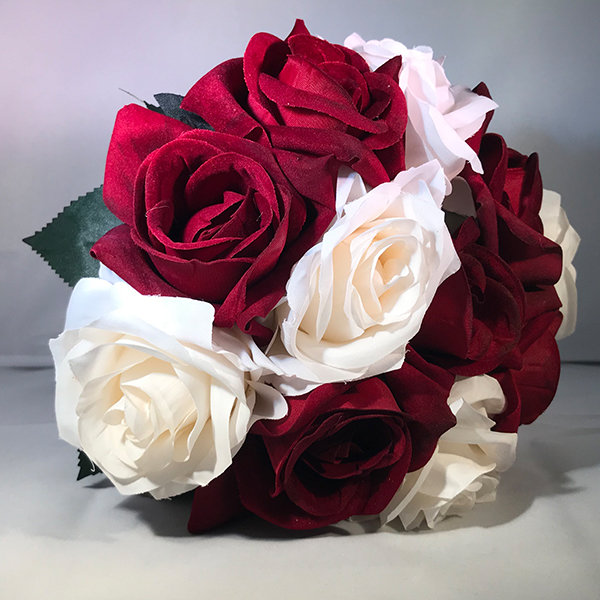 Bridal Red And White Rose Bouquet Etsy White Rose Bouquet Handmade Wedding Bouquet Rose Bridal Bouquet