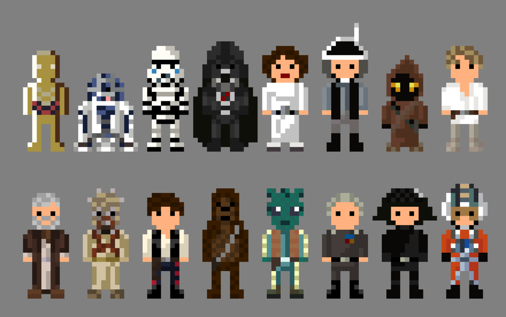 Star Wars A New Hope Characters 8 Bit By Lustriouscharming Pixel Art Cool Pixel Art Star Wars Attack Of The Clones