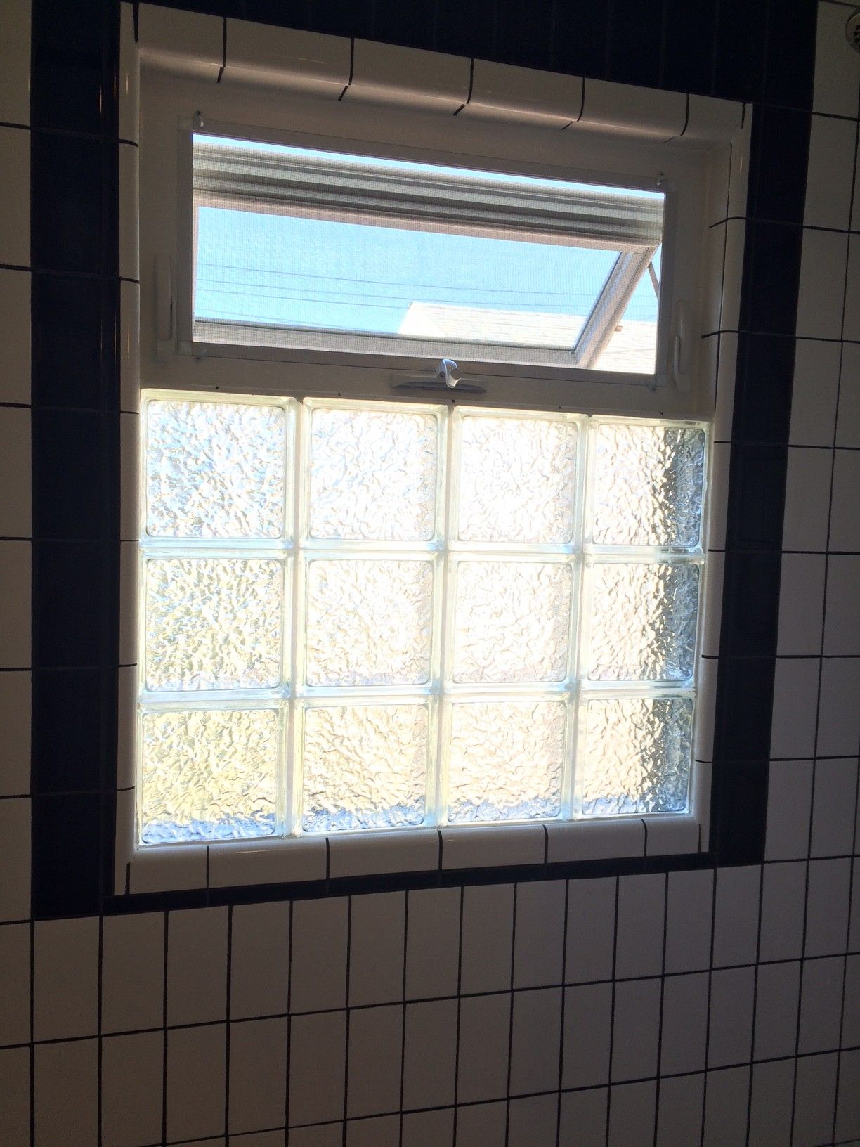 Bathroom Window Repair black and white bathroom remodel. glass block with awning window