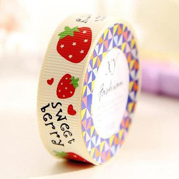 Strawberry Fabric Washi Tape / Cute Washi Tape / Kawaii Washi Tape / Cute Masking Tape / Kawaii Masking Tape / 1M Washi Roll / Deco Tape