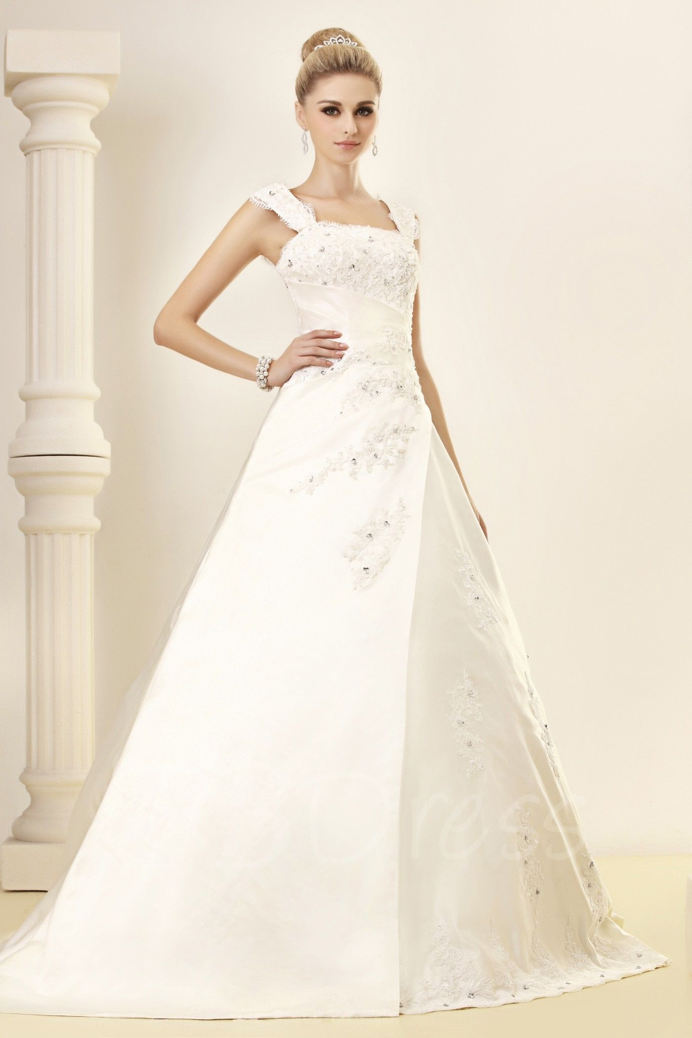 A-Line Square Sleeveless Chapel Appliques Bridal Gown | Bridal gowns ...