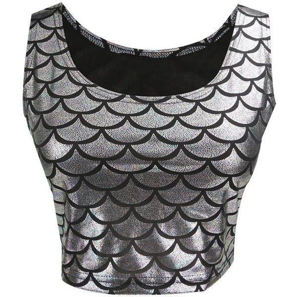 Jntworld women sexy mermaid fish scale hologram stretch soft shine vest