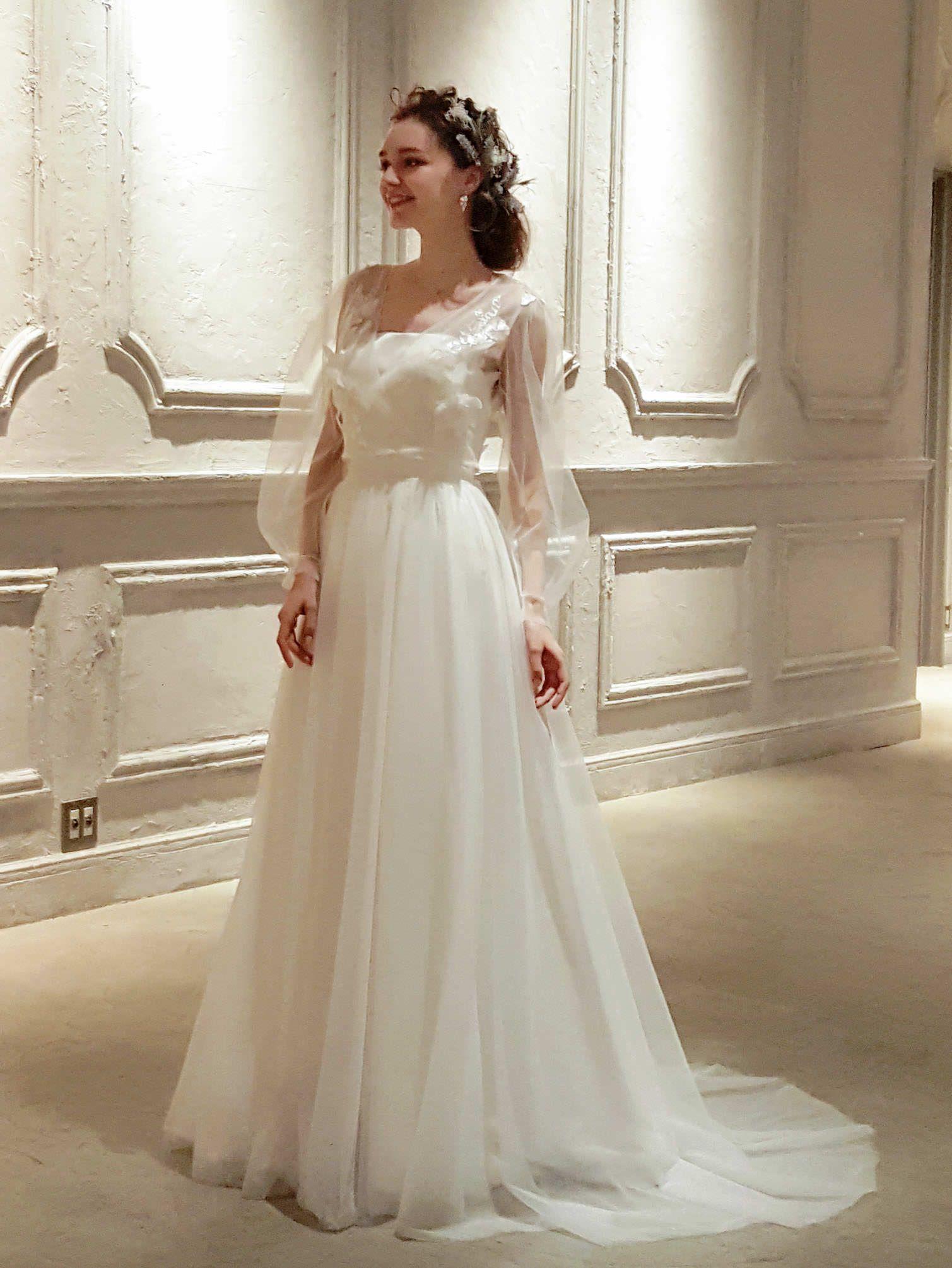 長袖パフスリーブの2wayドレス ウェディングドレス サテン