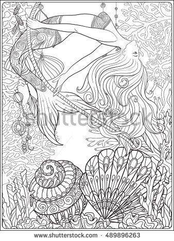 Hand Drawn Mermaid Swinging On Rope In Underwater World Linen Color Vector Illustration Anti Stress Colorin Mandala Malvorlagen Malbuch Vorlagen Ausmalbilder